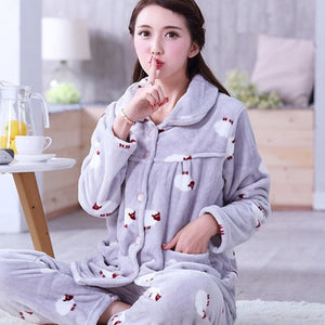 Thick flannel Winter Female Pajamas Color 10 / XL