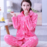 Thick flannel Winter Female Pajamas Color 12 / XL