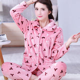 Thick flannel Winter Female Pajamas Color 15 / XL