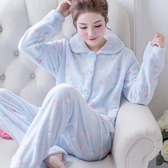 Thick flannel Winter Female Pajamas Color 16 / XL