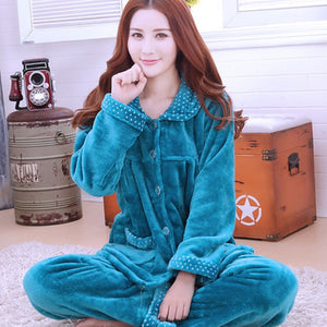 Thick flannel Winter Female Pajamas Color 17 / XL