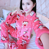 Thick flannel Winter Female Pajamas Color 25 / XL