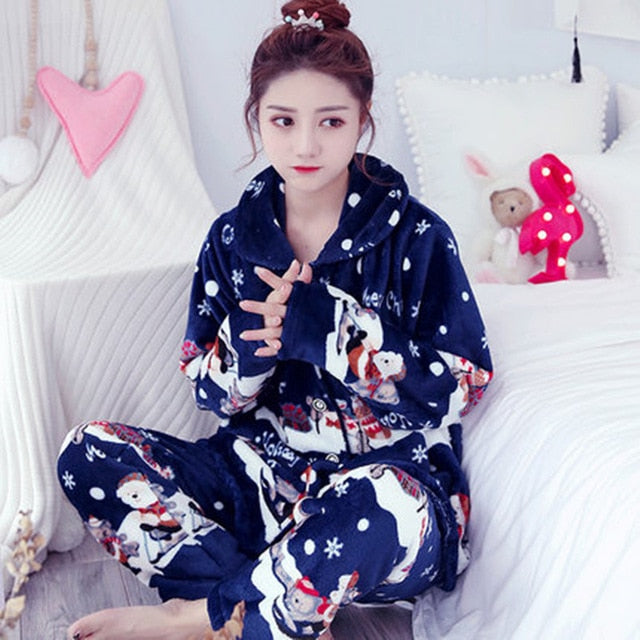 Thick flannel Winter Female Pajamas Color 26 / XL