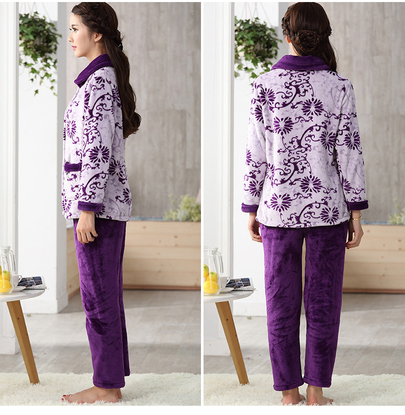 Thick flannel Winter Female Pajamas