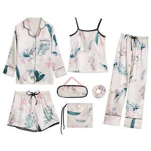 7 PCS womens pajamas set 7jian baihehua xings / L
