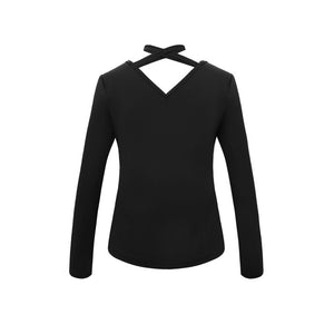 Ladies Sexy V-Neck Tops Long Sleeve Black / S