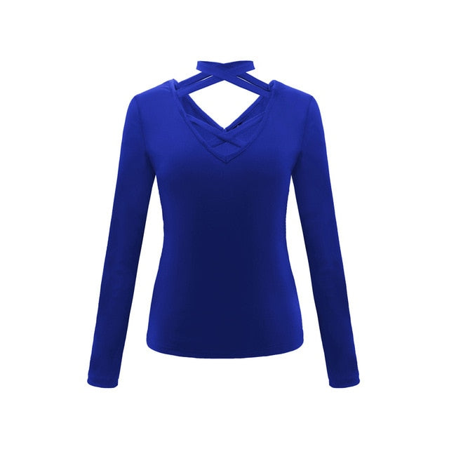 Ladies Sexy V-Neck Tops Long Sleeve Blue / S