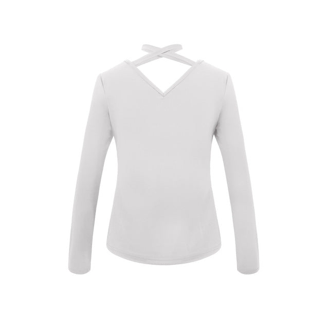 Ladies Sexy V-Neck Tops Long Sleeve WHITE / S