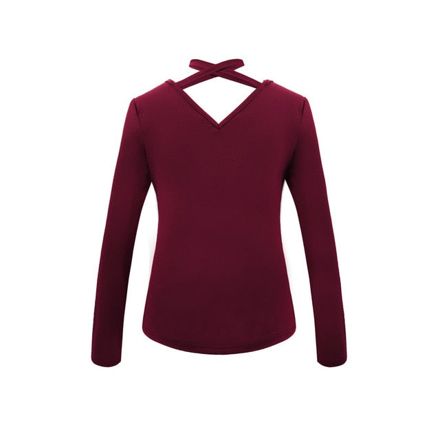 Ladies Sexy V-Neck Tops Long Sleeve Wine / S