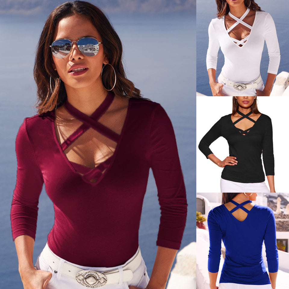 Ladies Sexy V-Neck Tops Long Sleeve