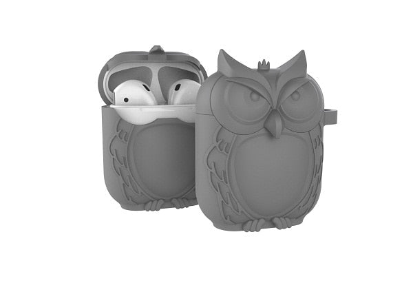 Owl Shape Silicone Shockproof Earphone Case Gray