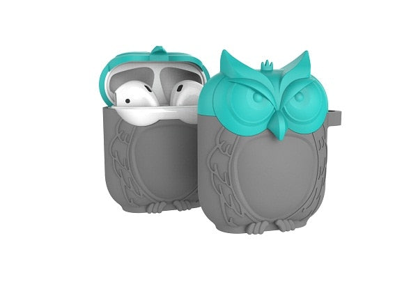 Owl Shape Silicone Shockproof Earphone Case Green Gray