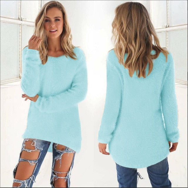 Women Casual Jumper Pullovers sky blue / S