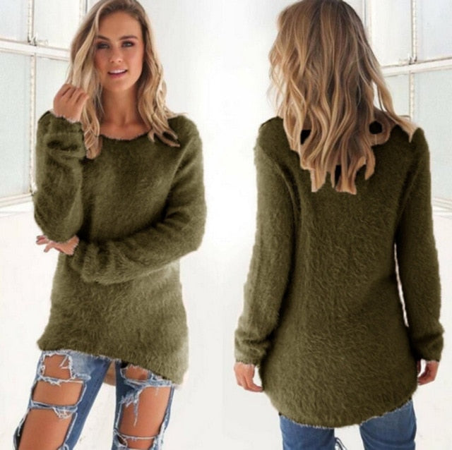 Women Casual Jumper Pullovers Army green / S