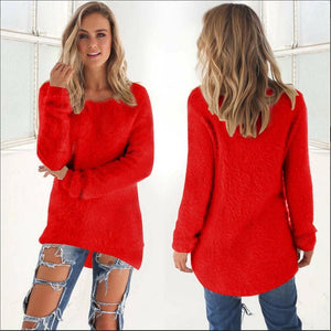 Women Casual Jumper Pullovers red / S