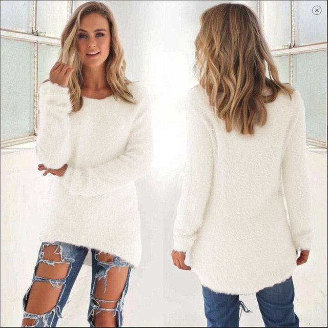 Women Casual Jumper Pullovers white / S