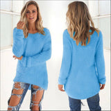 Women Casual Jumper Pullovers blue / S