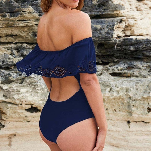 Sexy Off The Shoulder Swimwear Swimsuit Dark Blue / S