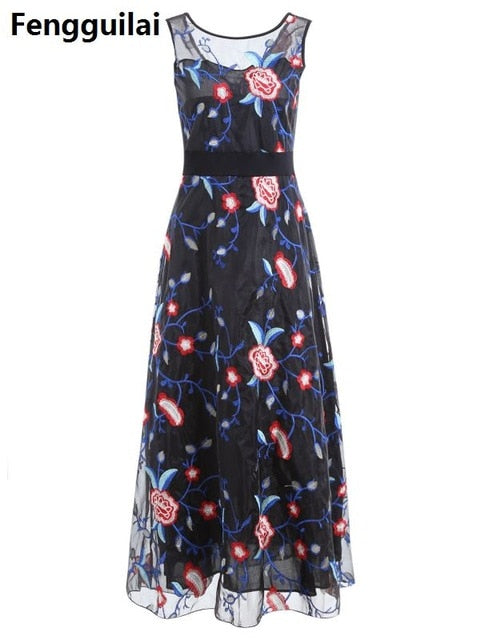 Women Long Prom Floral Evening Dress Black / S