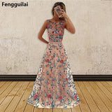 Women Long Prom Floral Evening Dress Pink / L