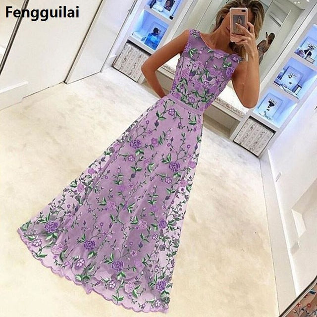 Women Long Prom Floral Evening Dress Fuchsia / S