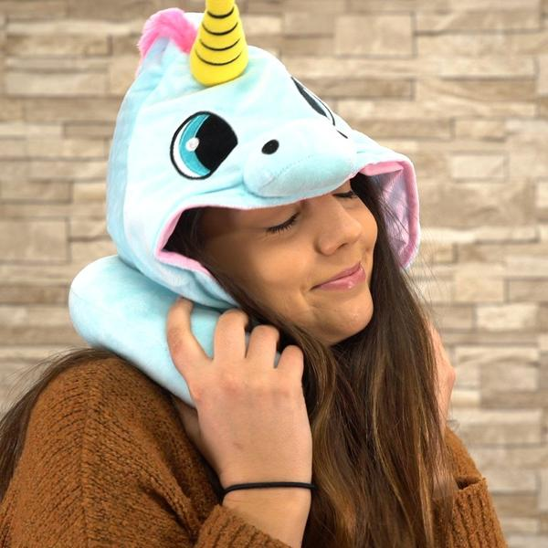 HOODED UNICORN TRAVEL PILLOW blue