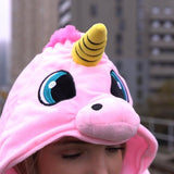 HOODED UNICORN TRAVEL PILLOW pink