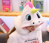 HOODED UNICORN TRAVEL PILLOW white