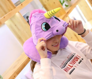 HOODED UNICORN TRAVEL PILLOW purple
