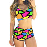 Women sexy bikini set with shorts block tankini / S