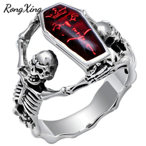 Vintage Punk Red Stone Skull Rings
