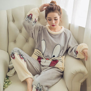 Two Piece Animal Cartoon Warm Pajamas
