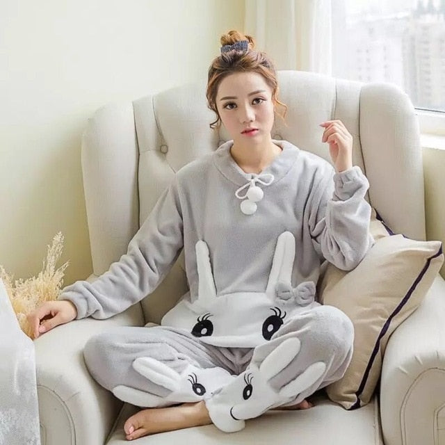 Two Piece Animal Cartoon Warm Pajamas cangerturong gray / S