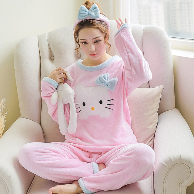 Two Piece Animal Cartoon Warm Pajamas maomirong pink / S