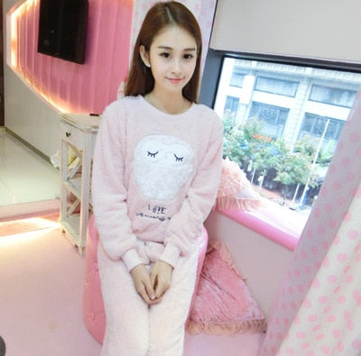 Two Piece Animal Cartoon Warm Pajamas maotouyingrong pink / S