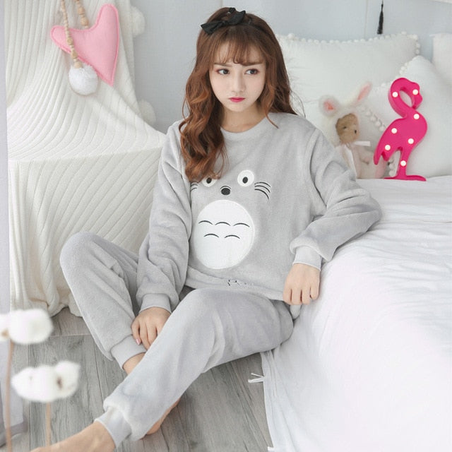 Two Piece Animal Cartoon Warm Pajamas longmaorong gray / S