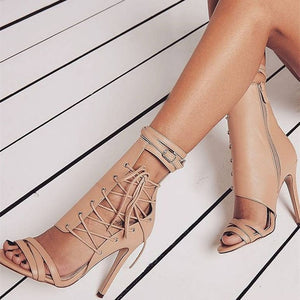 Sexy thin high heels 8820W beige / 5
