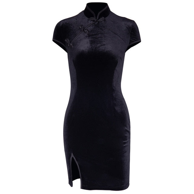 Chinese Style Velvet Dress Black / L