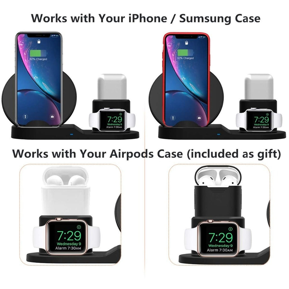 WIRELESS CHARGER STAND FOR IPHONE AIRPODS & APPLE WATCH