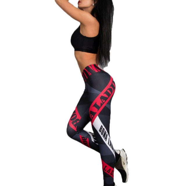 Super stretch letter printed fitness leggings As Picture / L