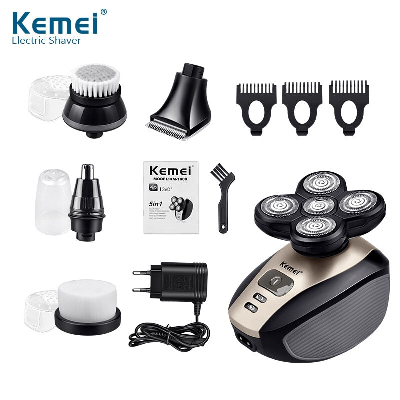 EASY HEAD SHAVER 5 in 1 Multifunction Washable Rechargeable Shaving Machine