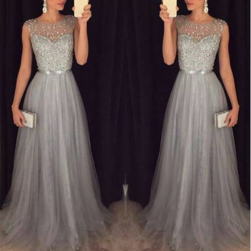 Fashion Sequin Evening Party Sleeveless Long Elegant Dress