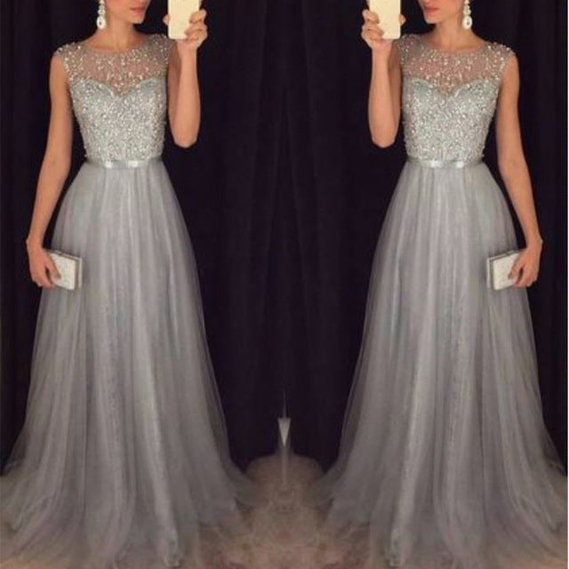 Fashion Sequin Evening Party Sleeveless Long Elegant Dress H / L