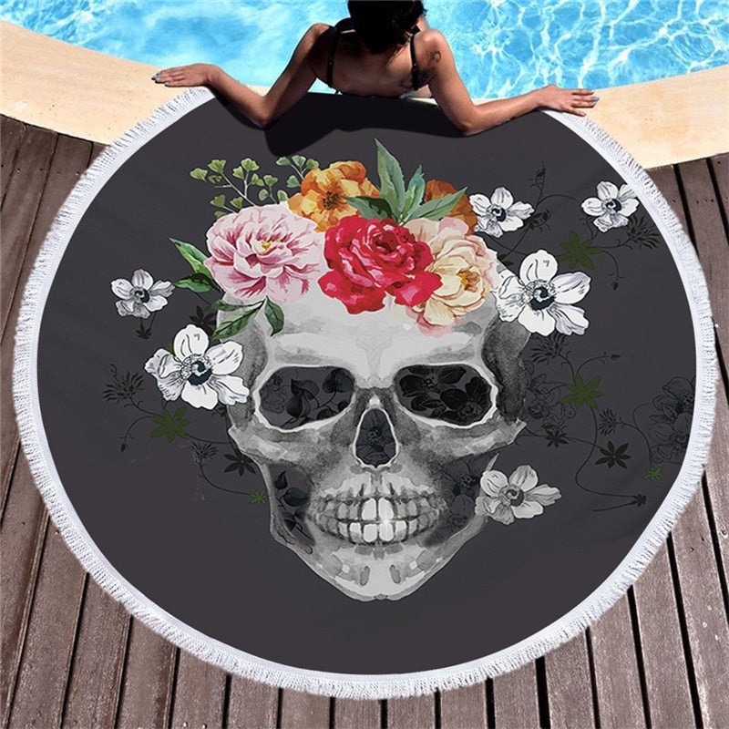 Skull Printed Round Beach Towel