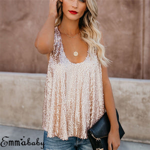 Sexy Women Sequin Sleeveless Evening top