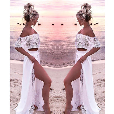 White lace two piece women beach clothes