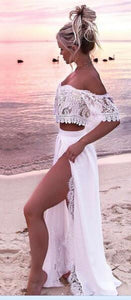 White lace two piece women beach clothes White / S