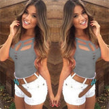 Women Bandage Hollow Strapless Top S854 Gray / S