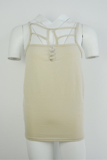 Women Bandage Hollow Strapless Top S854 Khaki / S