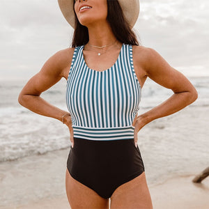 Sexy One Piece Swimsuit Swimwear StripedT2 / S